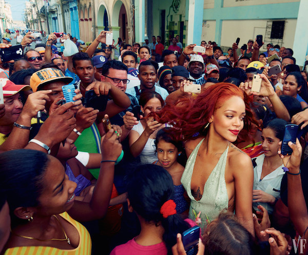 Fans surround Rihanna in Old Havana. Photograph by Annie Leibovitz; Styled by Jessica Diehl.