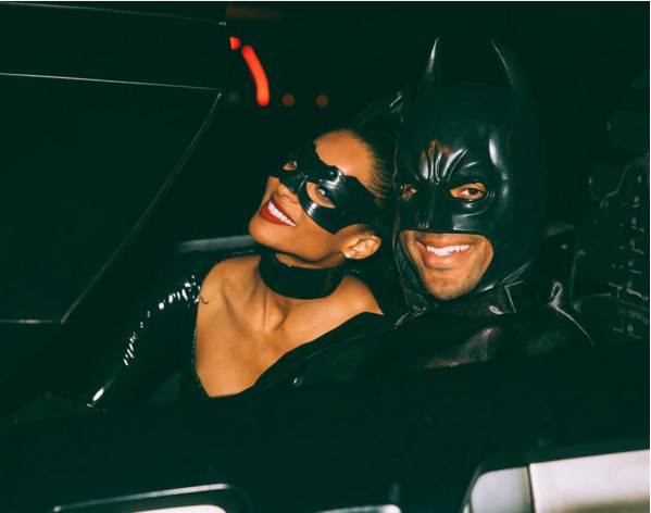 Ciara and Rusell Wilson as Catwoman & Batman